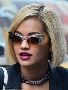 60bd9b4f86e4 The Rita Ora stood out in unusual silver cat s eye sunglasses