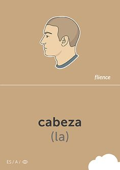 Cabeza #CardFly #flience #human #spanish #education #flashcard #language