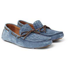 Bottega Veneta Intrecciato Suede Driving Shoes