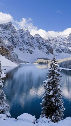 Moraine Lake is a glacially fed lake in Banff National Park, miles outside the village of Lake Louise, Alberta, Canada. It sits in the Valley of the Ten Peaks at an elevation of feet. Winter Szenen, Winter Magic, Winter Pictures, Nature Pictures, Beautiful Pictures, Winter Photography, Nature Photography, Moraine Lake, Snow Scenes