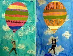 Have students write their hopes and dreams in air balloon. Kindergarten Art, Preschool Art, Art For Kids, Crafts For Kids, Arts And Crafts, Kid Art, Classe D'art, Spring Art, Art Classroom