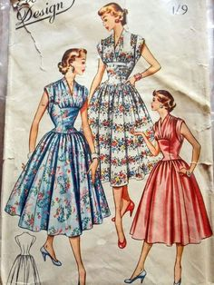 "Economy Design E75. 1950's Dress- Bust 36"". Traced copy. Complete."