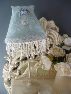 LAMPSHADE Pale Blue White Bedroom Lamp Shabby by HomeChiqueHome, $37.00