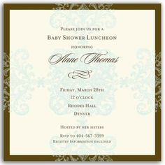 Formal Pattern Blue Square Baby Shower Invitations