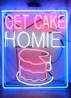 audrey kitching, inspiration, cake, neon sign
