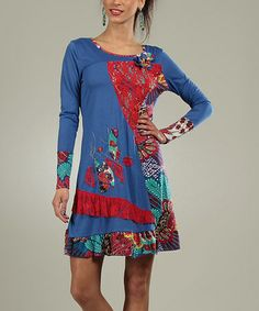 This Blue Patchwork Coraline Scoop Neck Dress by For Her is perfect! #zulilyfinds