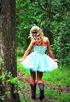 blue dress and cowgirl boots, I will rock this look at prom!