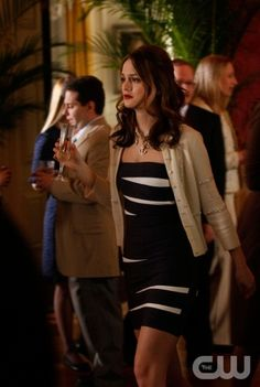 Blair Waldorf knows how to dress up a Herve Leger dress to not make it look trashy at a Connecticut cocktail party. She totally works the nautical look.