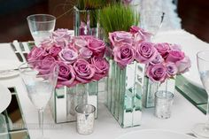 rose centerpieces by Ines Naftali Floral & Event Design