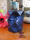 New Deep Blue Faceted Geometric Design Mercury Glass Votive Candle Holder