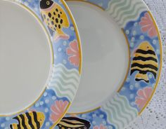 4 Vintage Princeton Studios Catalina 9130 Dinner Plates 4 Fish Beach Sea Life…