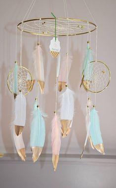 Baby Nursery Mobile, Gray Pink Baby Girl Nursery Decor, Feather Dreamcatcher, Woodland Tribal Boho Nursery Decor Baby Shower Gift