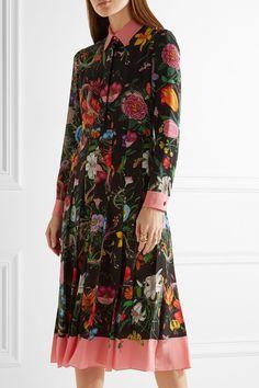 Gucci - Pleated Printed Silk Crepe De Chine Dress - Black - IT38