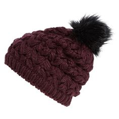 Collection XIIX Crochet Pompom Beanie (21 AUD) ❤ liked on Polyvore featuring accessories, hats, blackberry, pom pom beanie, pom pom hat, beanie hat, crochet beanie cap and crochet beanie hat