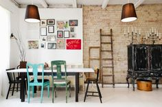 Eclectic dining room- This is what I had in mind for the chairs Mismatched Chairs, Container House Design, Dining Table Chairs, Dining Room Design, Inspired Homes, Home Interior Design, Sweet Home, Home Decor, Brick Walls
