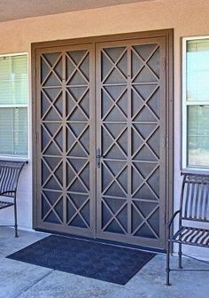 Alexon French Security Screen Doors - First Impression Ironworks Security Screen Door, French Doors Security, Iron Security Doors, Security Door, French Doors, Door Design, Iron Doors, Home, French Doors Interior
