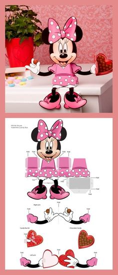 Minnie Mouse will brighten anyone's Valentine's Day -- especially when your special someone realizes she holds candy! 3d Paper Crafts, Paper Toys, Diy Paper, Kids Crafts, Diy And Crafts, Valentine Day Boxes, Valentines, Mickey E Minnie Mouse, Disney Crafts