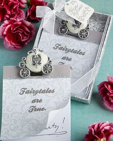 Cinderella's carriage note pad favors. http://www.bluerainbowdesign.com/WeddingFavorProduct.aspx?ProductID=PR05261217499900123456789XBRD10181