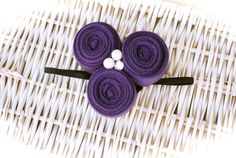 3 Handmade Purple Fabric Flower with 3 different by MadiMosBows, $9.50