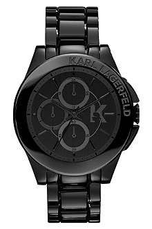 Much prefere a chunky black watch rather than a rose gold Michael Kors.  KARL LAGERFELD WATCHES KL1401 stainless steel unisex chronograph watch