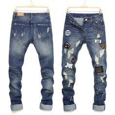 31.25$  Buy now - https://alitems.com/g/1e8d114494b01f4c715516525dc3e8/?i=5&ulp=https%3A%2F%2Fwww.aliexpress.com%2Fitem%2F2016-Ripped-Jeans-Men-Male-Street-Style-Slim-Classic-Personality-Beggar-Trousers-Pants-Biker-Men-Jeans%2F32751925515.html - 2017 Ripped Jeans Men Male Street Style Slim Classic Personality Beggar Trousers Pants Biker Men Jeans Trousers Men ML20