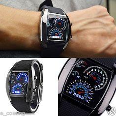 Men's Black Stainless Steel Luxury Sport Analog LED Aircraft Wrist Watch reloj