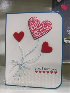 Stampin Up handmade valentine day card  heart in a jar  Stamped