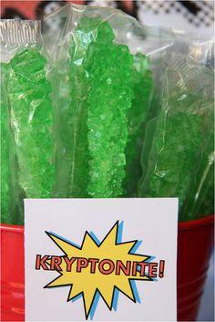 """Kryptonite"" sour apple rock candy sticks"