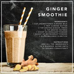 Ginger contains a natural anti-inflammatory, which helps to treat stomach problems and keep colds at bay. Health And Nutrition, Health And Wellness, Health Fitness, Ginger Smoothie, Stomach Problems, Anti Inflammatory Recipes, Smoothie Ingredients, Unsweetened Almond Milk, Weight Management