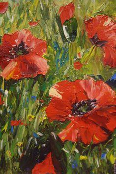 """Купить Картина маслом в раме """"Пронзительные маки"""" - ярко-красный, маки, цветы, пейзаж"""