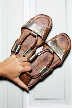 silver and tan leather sandals | something just draws me to these...idk what it is :)