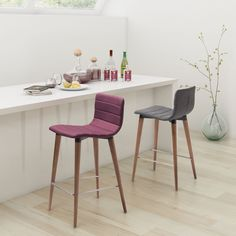 Zuo Modern Jericho Counter Stool - Set of 2 | from hayneedle.com - like the grey fabric, low back, comfortable seat and modern design