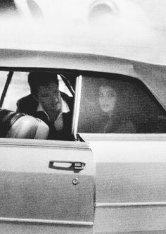 Elvis and Priscilla on the way to the airport to begin their honeymoon.