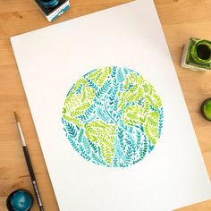 Watercolor Earth globe Green & Blue Fine Art by NathalieOuederni
