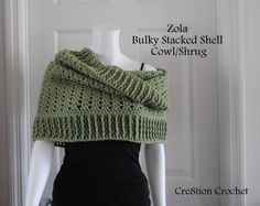 Free crochet pattern for bulky stacked shell cowl shrug.  It can be worn as a regular cowl, a hooded cowl or even as a shrug..