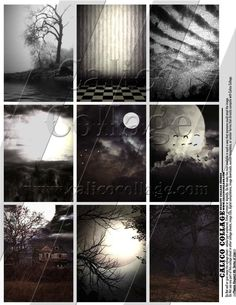 Spooky Collage Sheet  Digital Email PDF File  ATC by calicocollage, $4.15