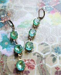 Summer Sparkle Long Vintage Glass Earrings