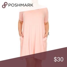 Blush criss cross dress Blush tshirt dress with pockets and criss cross detail on chest. Super soft and stretchy material. Price is firm Dresses