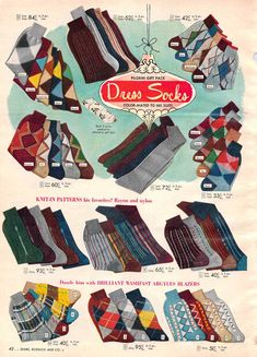 Vintage Mens Socks from a 1952 Sears catalog