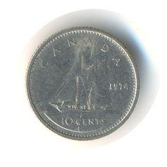 Vintage Coin Canada 10 Cents 1974 Code:RSC1797 by JMCVintagecards