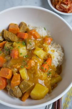 I love the fall. The weather is getting cooler, my slow cooker happily takes its semi-permanent place on my kitchen counter while my oven always seems to be occupied roasting something. There are a handful of comfort food dishes that I crave this time of year, and this Korean Curry Rice is one of them.