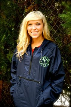 MONOGRAMMED Hooded Rain Jacket Available in sizes S-XL on Etsy, $28.00