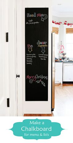 Create your very own chalkboard wall with chalkboard paint from Rust-Oleum. Now you can write down all the things you need to do, and buy. Also let your family know what's for dinner and write down dinner requests. Fun and organized!