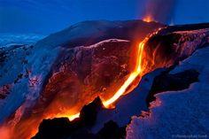 La parte norte del volcán Fimmvorduhals, al este del Glaciar Eyjafjallajokull, el 30 de marzo de 2010
