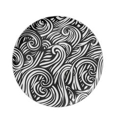 Cute black white fluid background design party plate $24.95