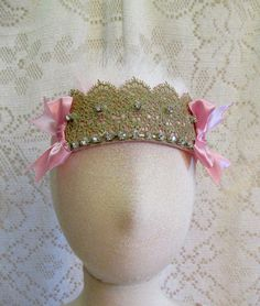 Lovely Gold Lace & Pink Feather Tie Back Crown by cd1ofakind