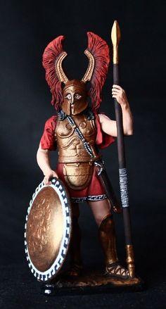 Elite: Greek Hoplite Winged Helmet Tin toy soldier 54 mm.,metal sculpture. #Spbsouvenir