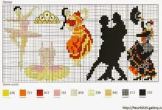 Various dancers free cross stitch patterns