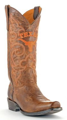 Gameday U Of Texas Mens Leather Boots M089 - Brass