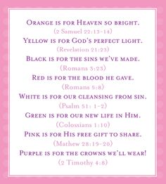 Meaning of colors - jellybean prayer